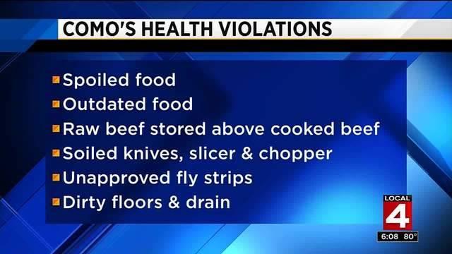 Como's restaurant list of health violations 2017