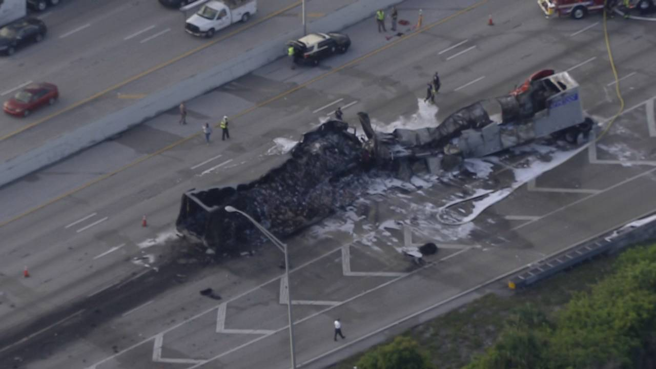 Sky 10 fatal tractor-trailer fire on I-95