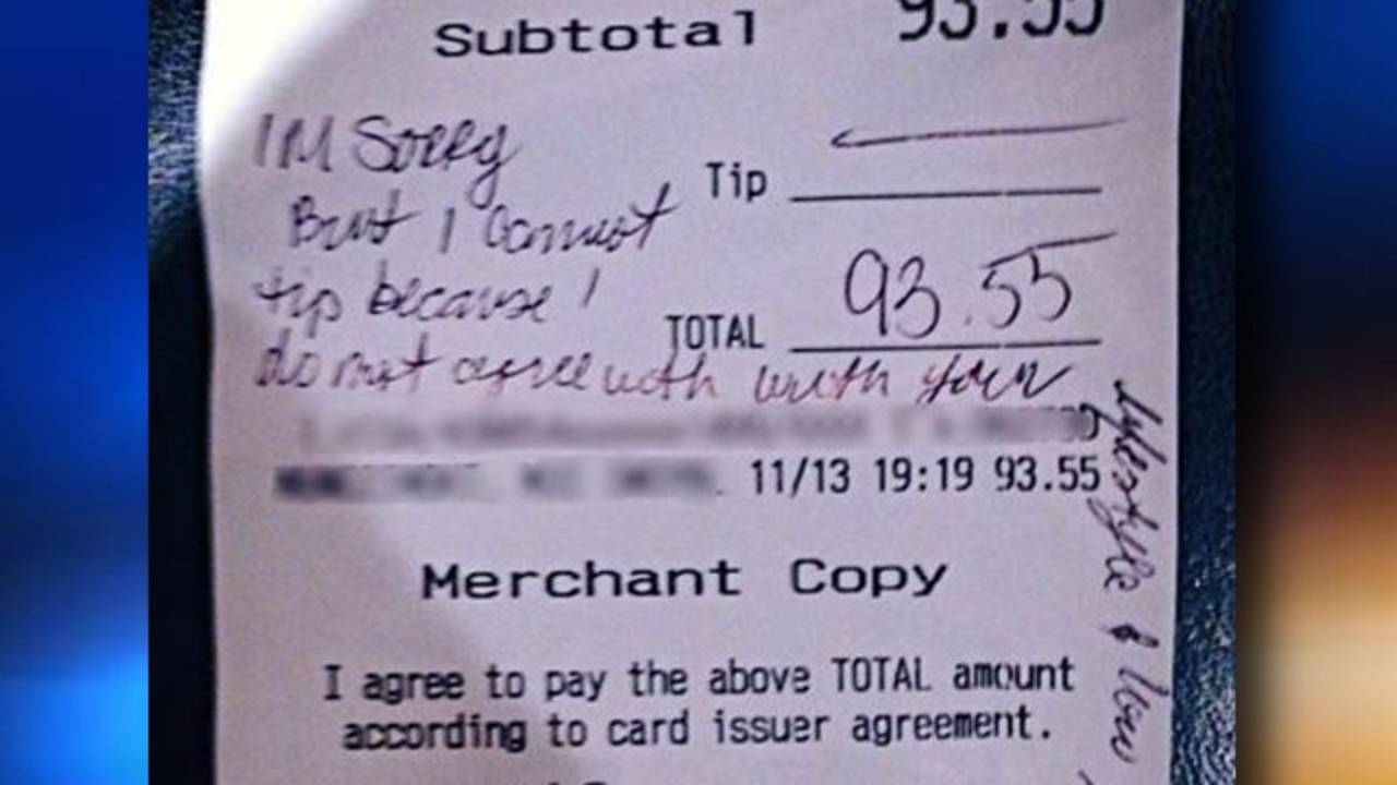 Family leaves rude receipt for waitress and her 'gay lifestyle'