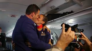 Pope Francis marries couple in impromptu ceremony aboard papal plane