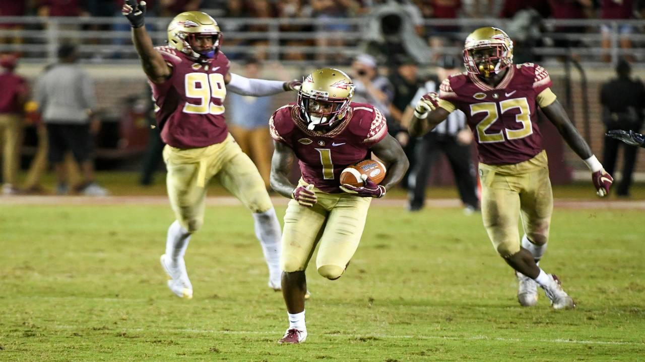 Florida State Seminoles cornerback Levonta Taylor interception return for TD vs Samford Bulldogs