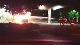 Car catches fire at Plantation gas station