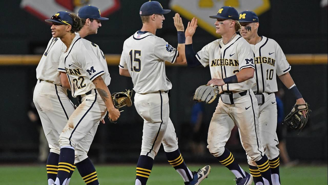 Michigan baseball vs Vanderbilt handshake line College World Series CWS 2019