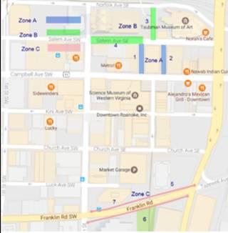 Downtown Roanoke on-street metered parking pilot program to... on street map franklin county, street map united states, city map gander way roanoke, street map garden city, street map virginia, street map of salem va,