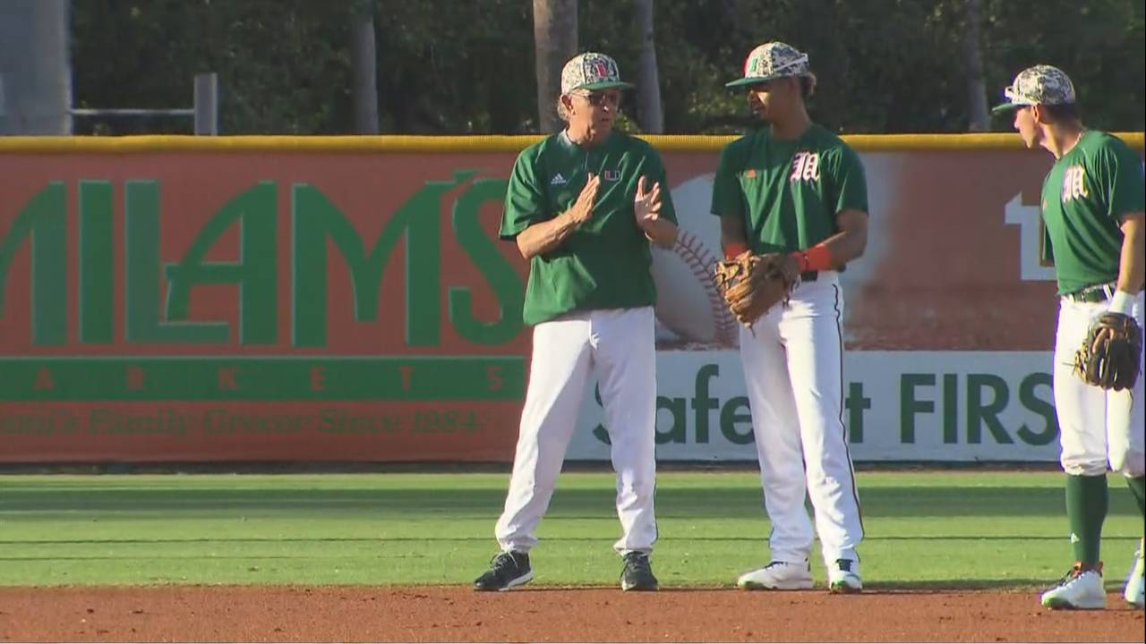 Jim Morris works with his players during Miami Hurricanes baseball practice
