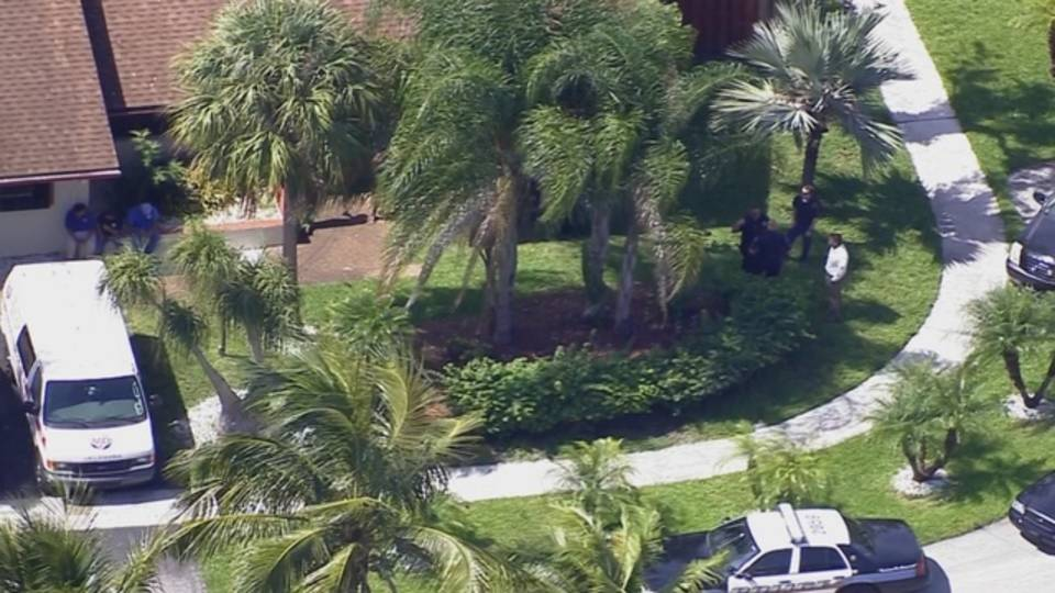Police outside Lauderhill home where toddler found in pool