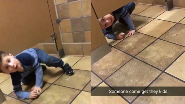 Cute Yearold Interrupts Stranger On The Toilet To Ask For - Boy crawls under bathroom stall