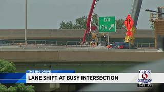 Lane shift at busy intersection