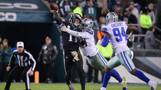 73fdcdabf PHILADELPHIA, PA - NOVEMBER 11: Quarterback Carson Wentz #11 of the Philadelphia  Eagles is hit while throwing the ball for an incomplete pass against the ...