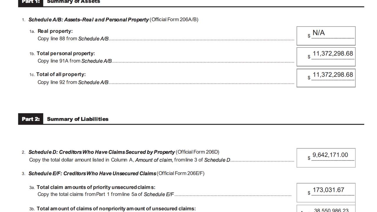 AAF bankruptcy document 1