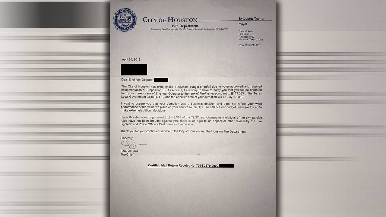 Letter sent to active, classified HFD personnel notifying them of demotions