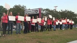 Teachers demonstrate outside Marjory Stoneman Douglas High School