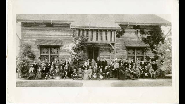 1899 photograph of log cabin at Palmer Park