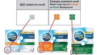 Bayer issues recall of Alka Seltzer Plus products