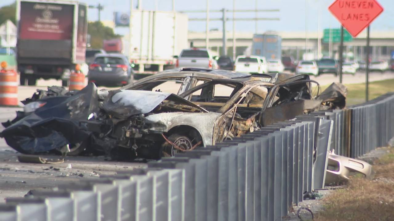Charred cars remain on side of I-95 after fiery crash
