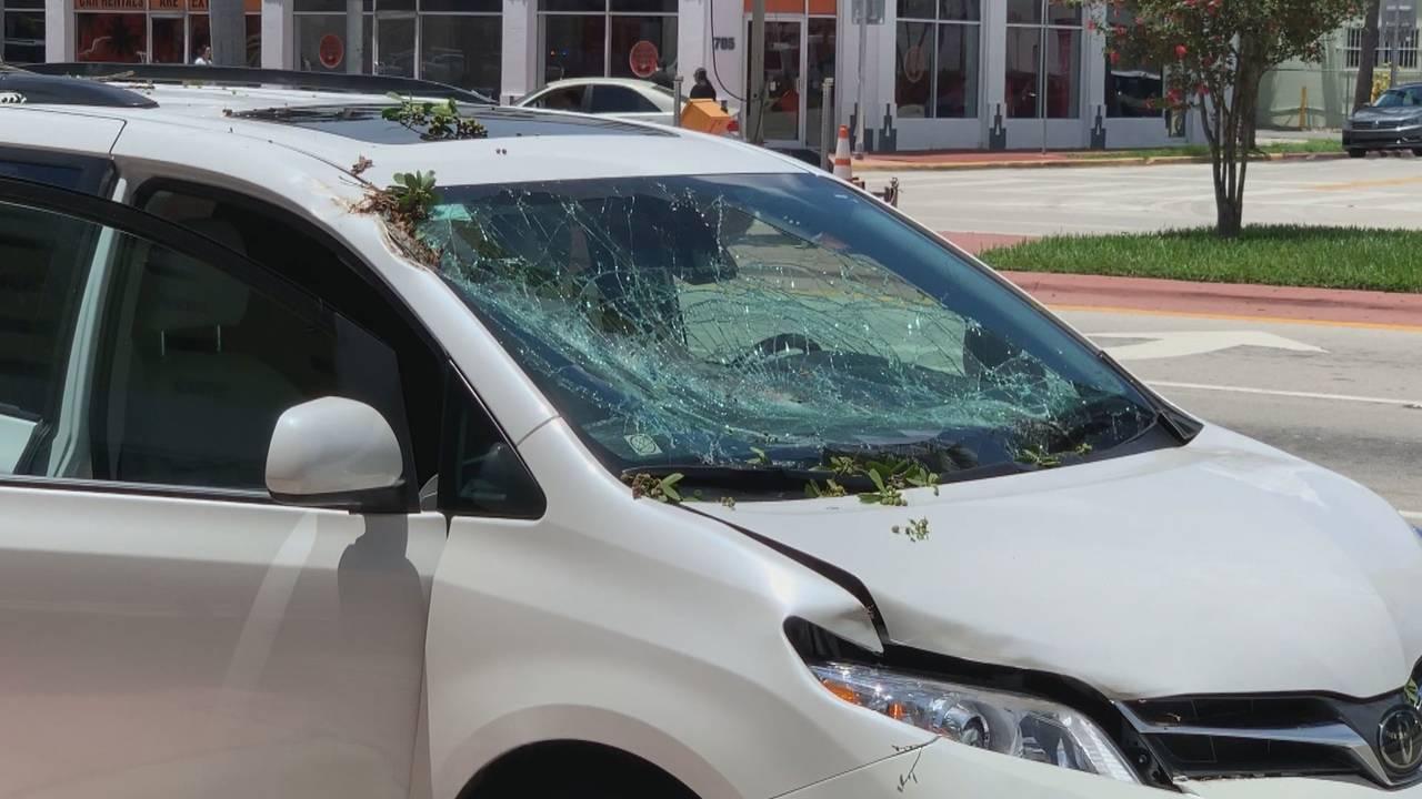Car on van damage miami beach