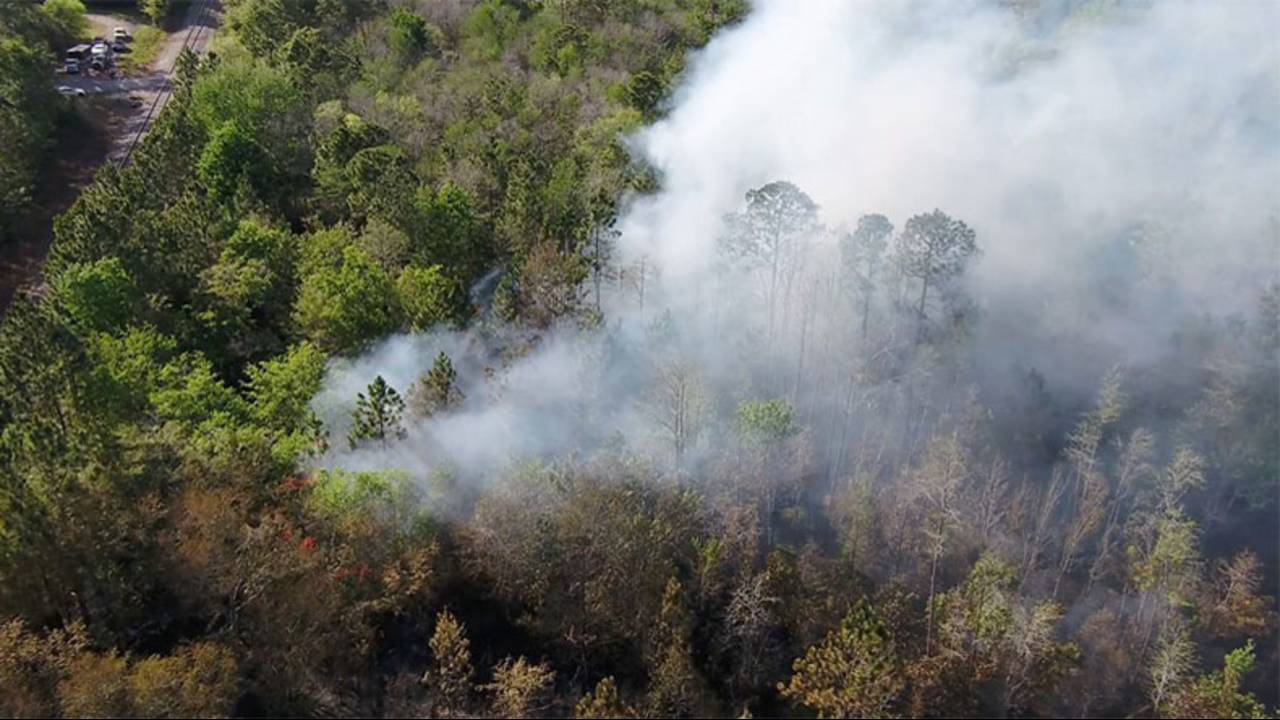 Sky 4 aerial image of brush fire