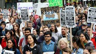 Hundreds of Amazon workers walk out to protest climate change inaction