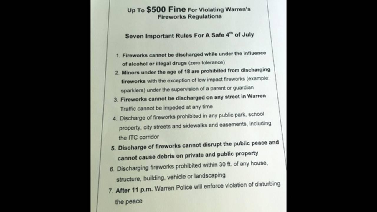Warren fireworks regulations_33976754