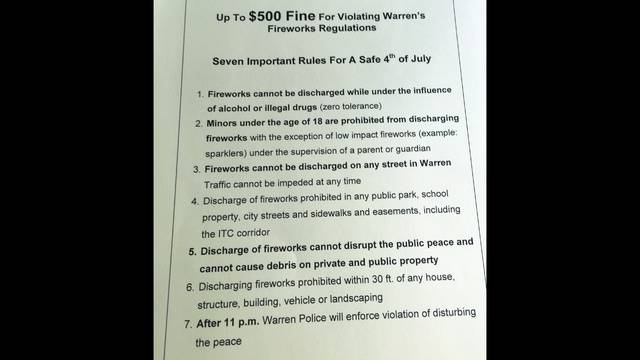 Warren fireworks regulations_33976754