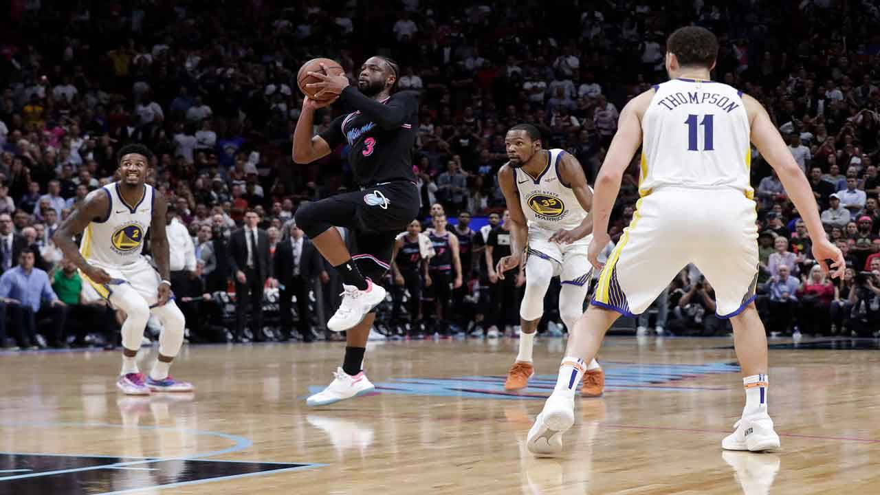 Dwyane Wade shoots game-winning buzzer beater vs Golden State Warriors, Feb. 27, 2019