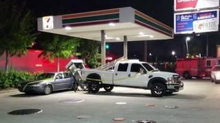 Gas pump crashes onto man's new car
