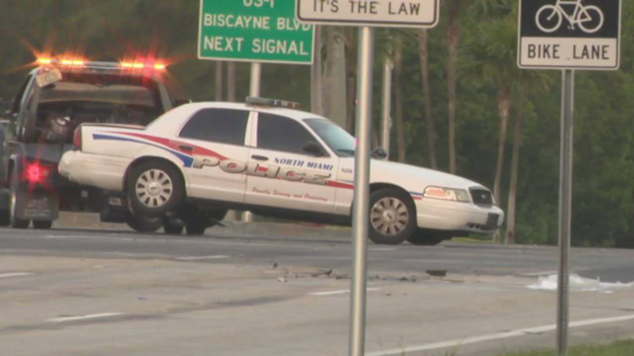 North Miami police cruiser towed away after crash