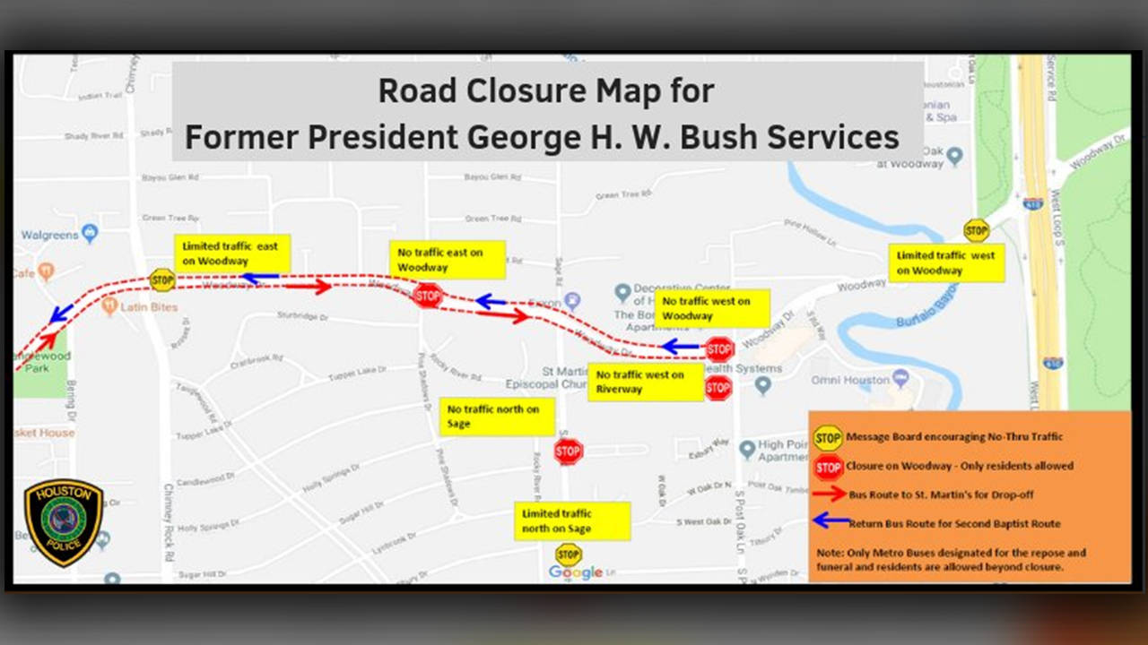 road closure for george h.w. bush funeral
