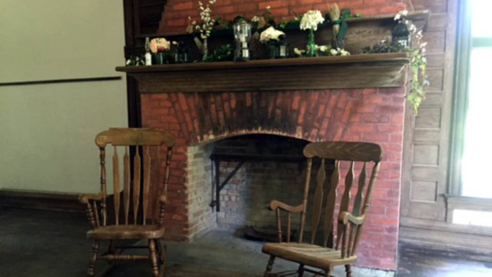 Detroit log cabin fireplace