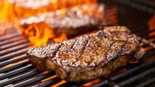 New York strip steak with whiskey-mushroom sauce