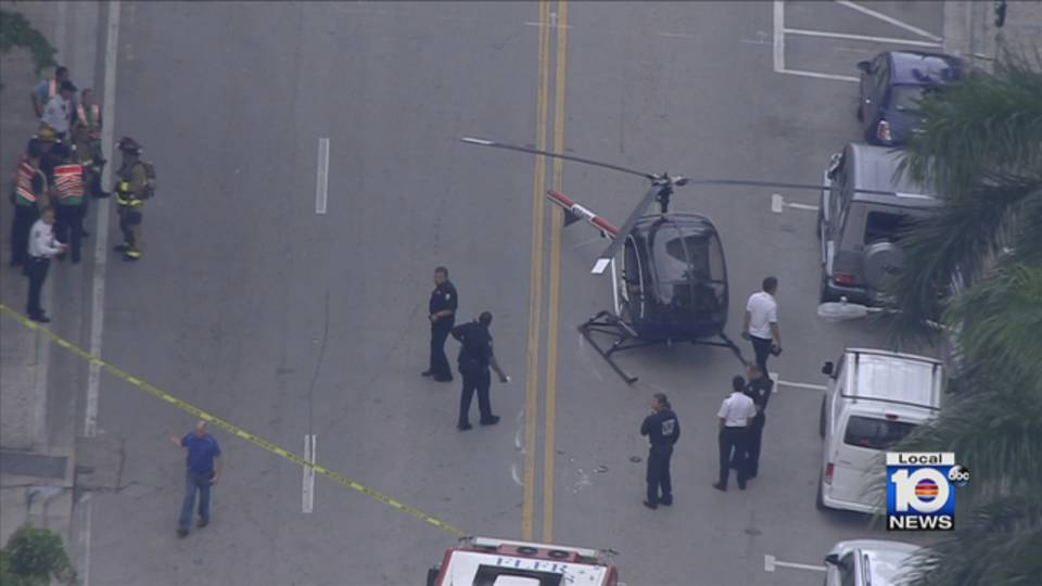 Helicopter on Southeast Second Street in Fort Lauderdale aerial