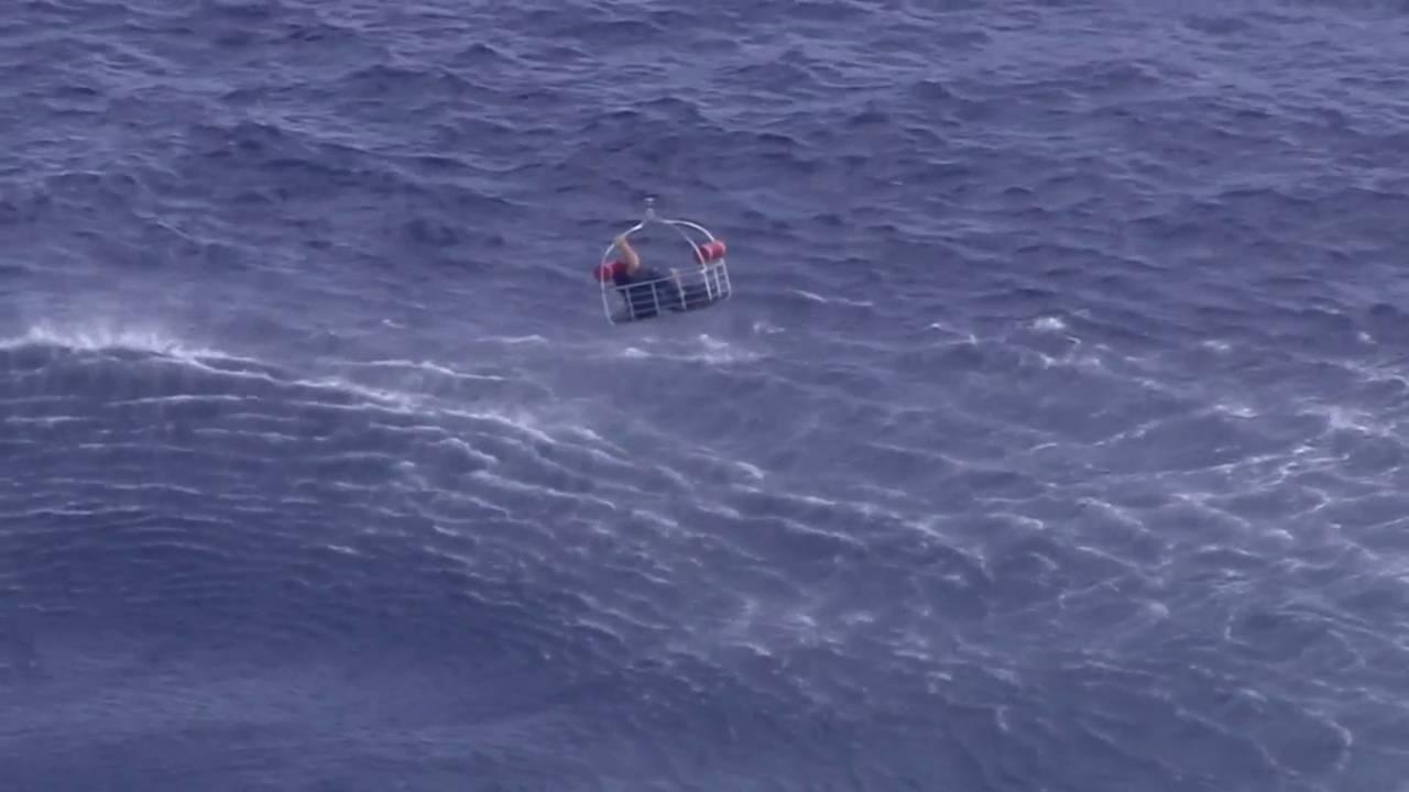 Basket during rescue after plane crash