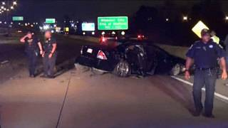 Man flips car in police chase, runs across beltway before he is arrested