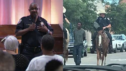 Galveston Police chief answers questions about mounted officers leading arrested man