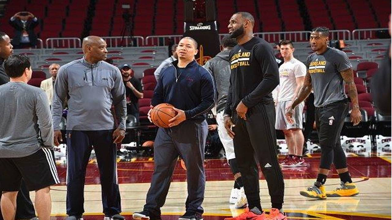 d6d271f4f8e LeBron James and Cavaliers head coach Tyronn Lue participate during  practice and media availability Wednesday as part of the 2017 NBA Finals.