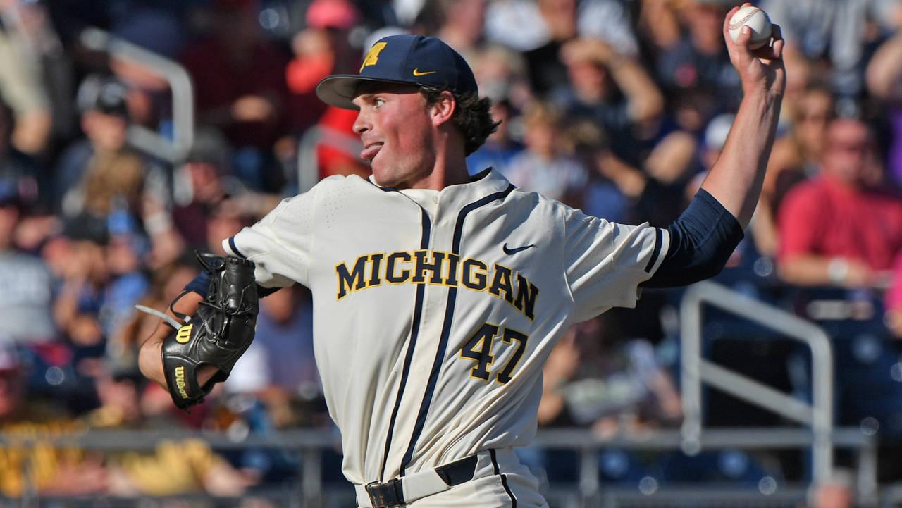 Tommy Henry Michigan baseball vs Vanderbilt College World Series CWS 4