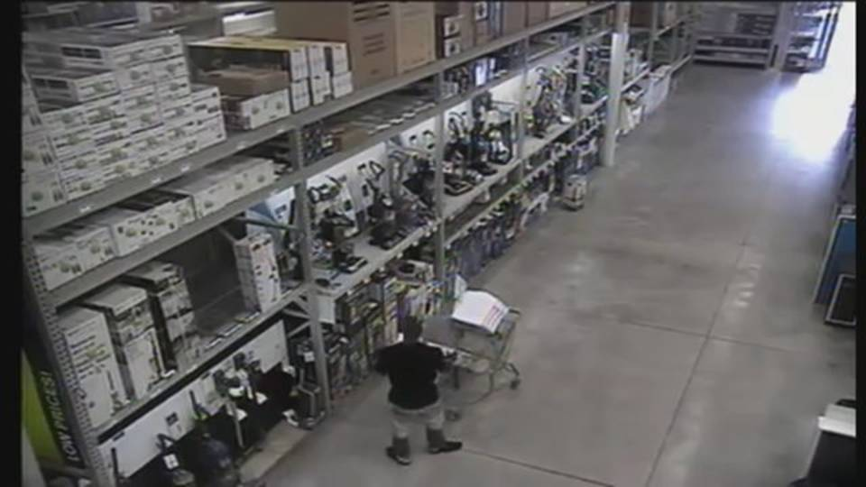 thief with shopping cart full of items at Lowe's