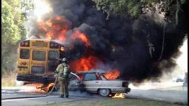Image result for school bus catches fire