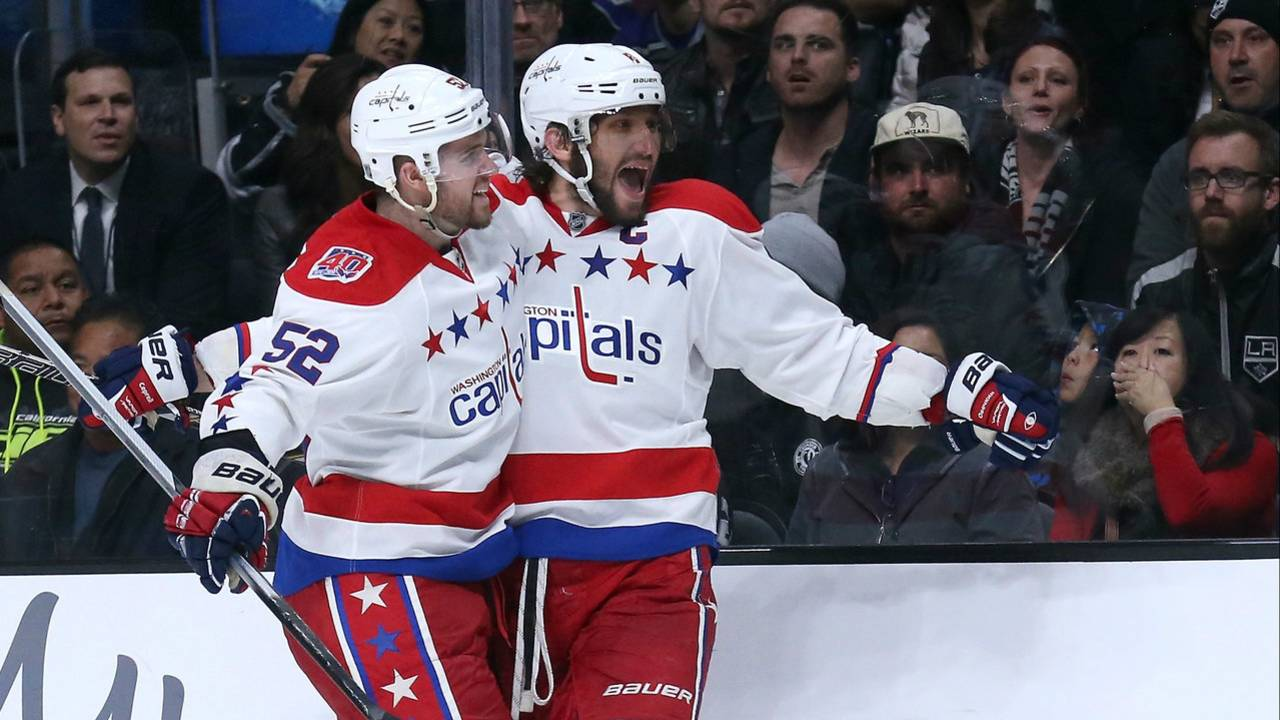 Alex Ovechkin  8 of the Washington Capitals celebrates with Mike Green  52  after scoring a goal in the third period against the Los Angeles Kings at  Staples ... d652fd5c8c7