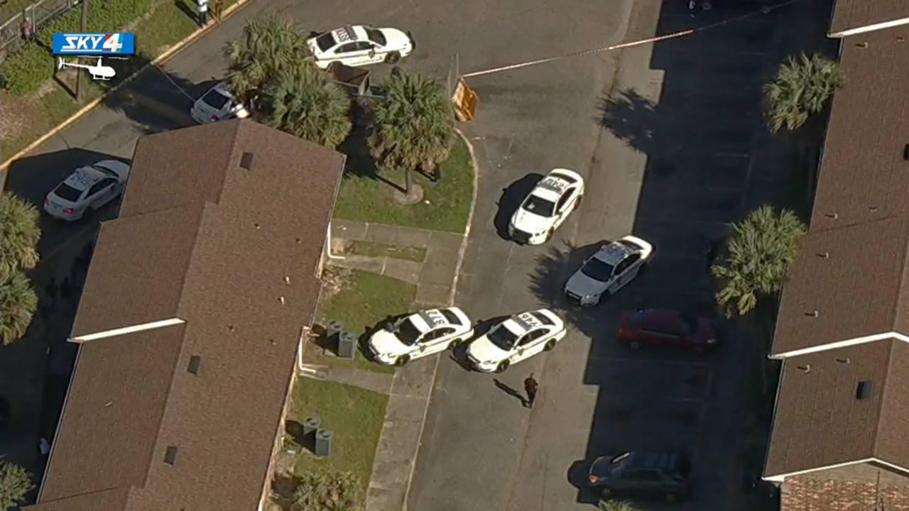 Homicide at Hilltop Village Apartments aerial