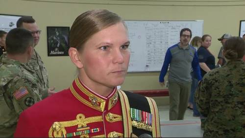 First female assistant drum major for Marine band honored at Alvin High School