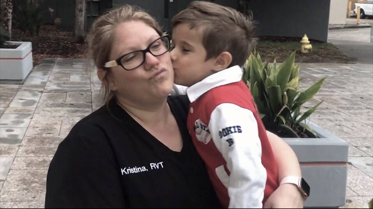 Kristina Flores and son