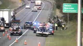 Overturned car causing delays on Interstate 81 in Montgomery County