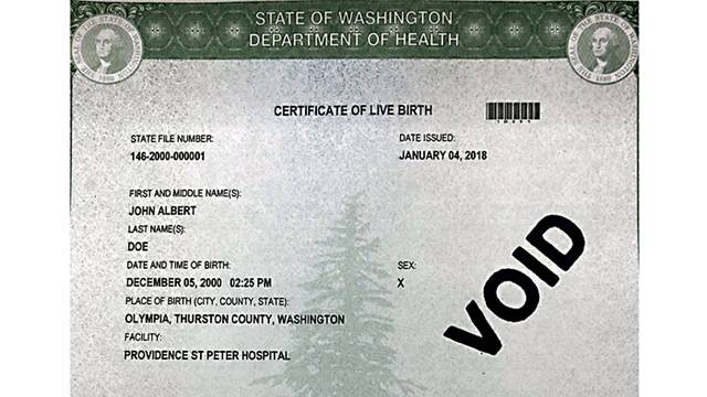 Washington state offers third gender option on birth certificates