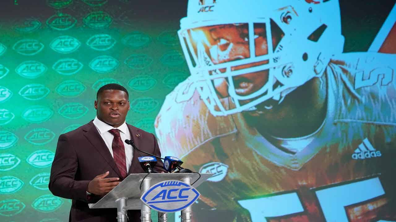Miami Hurricanes linebacker Shaq Quarterman at ACC Kickoff