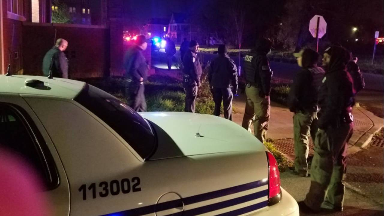 Police officers on scene of WSU officer shot in head