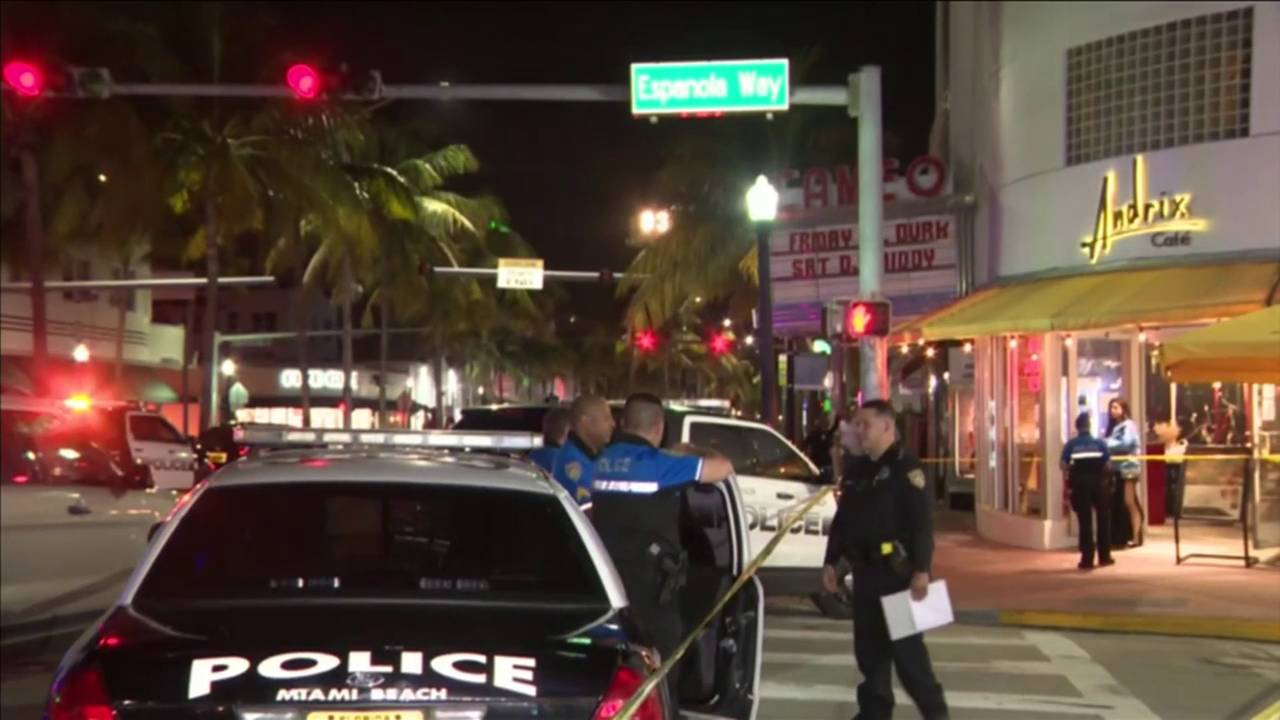Miami Beach police outside Cameo after shooting of rapper