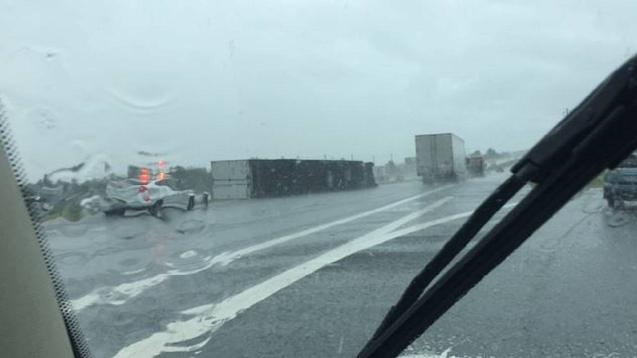 Overturned semi near Clermont bad weather