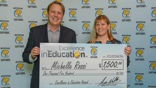 Macomb County teacher receives Michigan Lottery Excellence in Education award