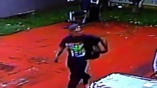 Surveillance video shows burglar riding away in bicycle